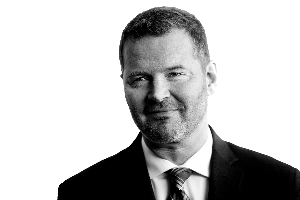 Black and white portrait of Brian Geyser, APRN-BC, MSN, Chief Clinical Officer