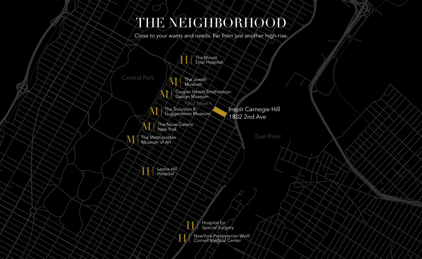Map showing locations of 4 hospitals and 5 museums in close proximity to Inspire Carnegie Hill