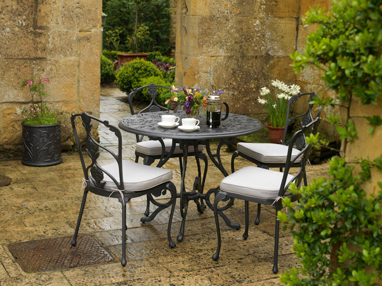 Garden terrace table setup for coffee to two