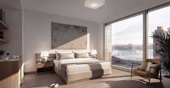 Rendering of studio apartment at Inspir Carnegie Hill